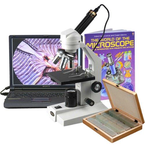 Preisvergleich Produktbild amscope m200C-ps100-wm-e 40x-1000x Glas Optische Student Mikroskop + USB-Kamera, 100Exemplare und Buch