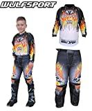 Bambini tuta motocross - WULFSPORT FIRESTORM Bambini Maglia e pantaloni Moto cross ATV Quad Off road...