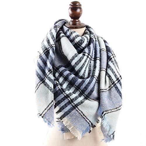 HLYANWEN Sciarpe,Sciarpa Stampa Plaid Morbido Caldo Invernale su Due Facciate Colorate Sciarpe di Piacere Semplice Moda Strisce Nere Azzurro Selvaggio di Reticolo Wrap Scialli Dono per Le Do