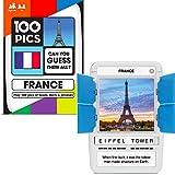Poptacular Games 100 Pics France - Juego de Viaje para niños Curiosos (Datos de Alimentos y Frases del Paquete) [Juego de Cartas de Bolsillo]