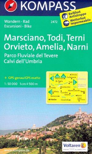 Marsciano, Todi, Terni, Orvieto, Amelia, Narni (Ombrie, Italie) 1:50.000 carte topographique de randonnée KOMPASS # 2472