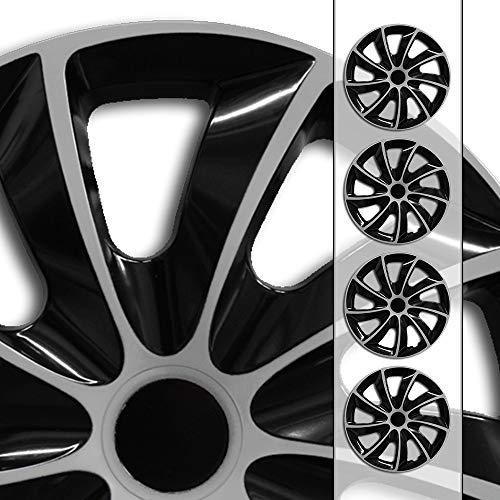 """Autoteppich Stylers Aktion 16 Zoll Radkappen Radblenden 16\"""" Nr.002 Schwarz-Silber Bundle (Farbe und Größe wählbar!)"""