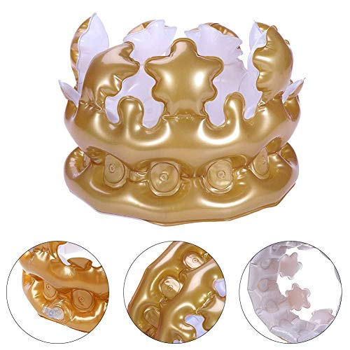 Winter Kostüm Queen - Mode Aufblasbare Crown King Queen Kostüm Stil Geburtstag Party Hut Kappe Foto Requisiten Liefert Gutes Geschenk An Freunde Golden LNone
