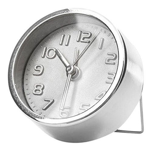 Kikkerland Despertador, Plata, 5.3339999999999996 x 5.3339999999999996 x 2.54 cm