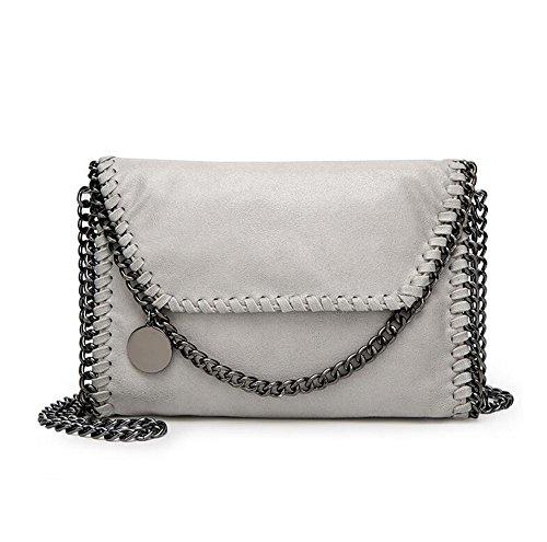 Ladies Pu Casual Angleliu Chain Handbag Alla Moda Borse A Spalla Borsa Buzzer Glitter Piccolo Stile Grigio