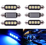 Inlink 6pcs Blau Fehlerfrei Canbus 4SMD 5050 42 mm LED Auto LED Kennzeichenbeleuchtung Soffitte LED Umfeldbeleuchtung Soffittenlampe Soffitte Dome Lampe DC 12 V