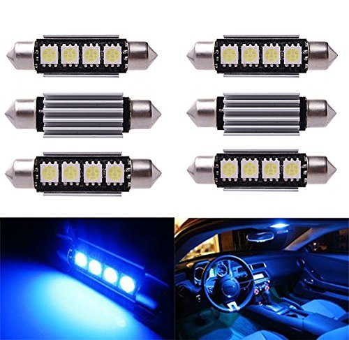 Inlink 6pcs Blau Fehlerfrei Canbus 4SMD 5050 42 mm LED Auto LED Kennzeichenbeleuchtung Soffitte LED Umfeldbeleuchtung Soffittenlampe Soffitte Dome Lampe DC 12 V (Auto Blaue Led-innenbeleuchtung)