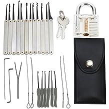 juego de ganzúas lock picking kit(24 ganzúa)Geepro Profi, Funda de Cuero + Candado Transparente, para Principiantes