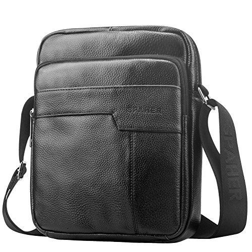 Spaher uomo borsa a spalla mano uomini in pelle cuoio borsa di affari del messaggero organizer portatutto della zaino crossbody casual tote bag sling viaggio borsa tracolla grande nero