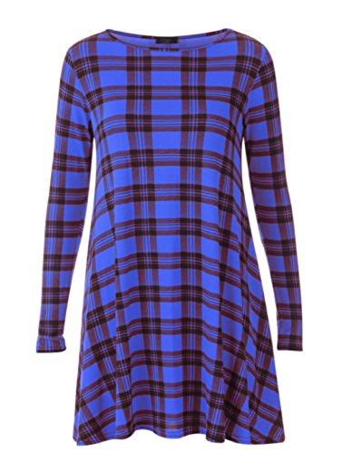 Janisramone Femmes Imprimé à manches longues viscose stretch robe trapèze haut taille 8 - 22 TARTAN BLEU