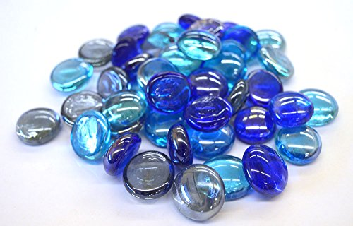 500g (Approx. 100) Pack of Colourful Mixed Glass Pebbles / Stones / Nuggets / Beads / Gems (The Blues)