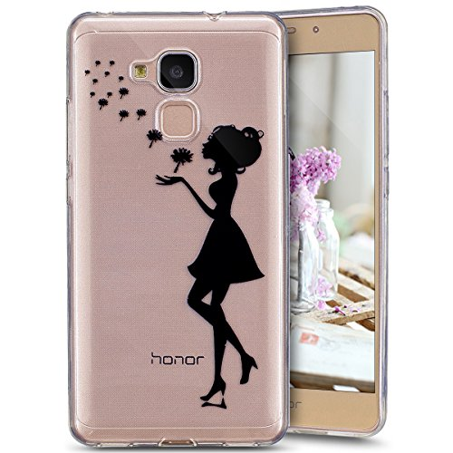 Ukayfe Custodia per Huawei Honor 5C,Ultra Slim TPU Gel Gomma Silicone Copertura Case per Huawei Honor 5C,Moda Serie Pattern Back Cover Crystal Skin Custodia Stilosa custodia di design Protettiva Shell Ragazza nera