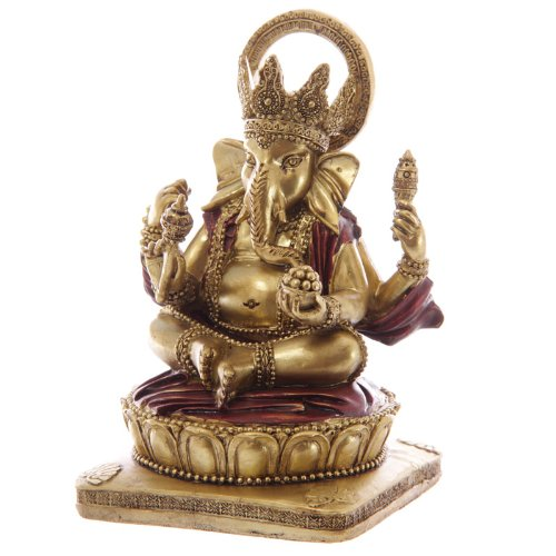 Gold and red ganesh statue 14cm
