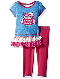 Youngland Baby Girls Tiered Owl Tunic with Knit Legging