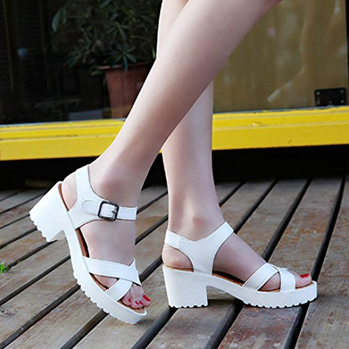 HCFKJ 2017 Mode Frauen Rough Sandalen Frau Open Toe Fish mouth High Heel Outdoor Plateau Schuhe Weiß