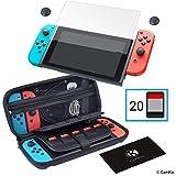 CAMKIX Kit Conservazione e Protezione 4in1 Compatibile con Nintendo Switch: Custodia Rigida in Nylon con 20 Inserti per Game Card, Proteggi Schermo in Vetro Temperato, 2X Thumb Grip, Panno di Pulizia