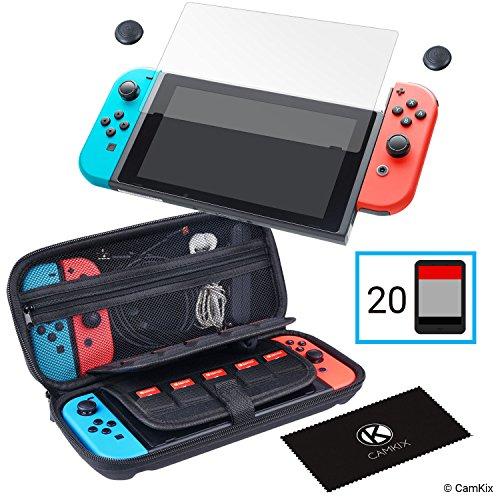 Juego de protección Nintendo Switch 4 en 1: Caja de nylon duro con 20 insertos de tarjeta de juego, 1 x protector de pantalla de vidrio templado, 2x tapa con agarre de pulgar, 1x paño de limpieza.