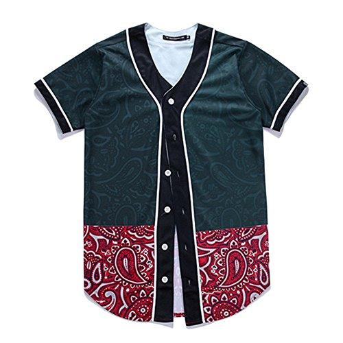 YonBii Männer Jungen-Vintages Baseball Jersey 3XL Knopf-Entwurfs-Kurzschluss-Hülsen-Oberseiten-Schweiß-T-Stück (Baseball-vintage-jersey)