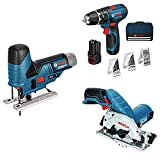 Bosch Professional 12-Volt Multitool-Set für die grobe Holzbearbeitung (2 x 2,0 Ah Akku + 3 Geräte)
