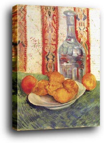 1art1® Vincent Van Gogh Poster Reproduction sur Châssis (Bois) - Nature Morte avec Bouteille Et Citrons sur Une Assiette (80 x 60cm)