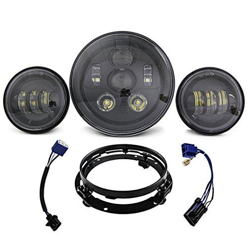 Preisvergleich Produktbild 1 Set Schwarz Harley Daymaker 17, 8 cm LED Scheinwerfer mit 11, 4 cm Passende chrom Passing Lampen für Harley Davidson Motorräder mit Adapter Ring