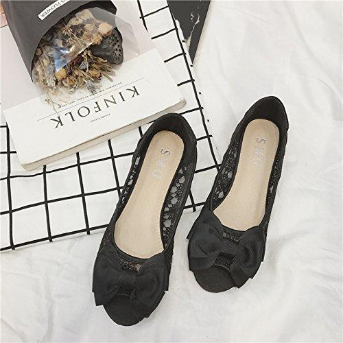 WYMBS Le cadeau le plus intime Nouvelle astuce de poissons-dentelle chaussure basse femme chaussures de travail pour de plus grandes chaussures femmes chaussures Black