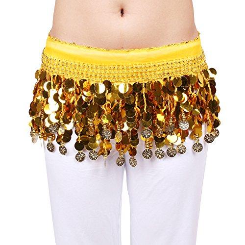 ionelle Multi-Row Pailletten Bauchtanz H¨¹fttuch/Wrap/G¨¹rtel Mit Goldfarbe M¨¹nze Und Perlen, Gelb ()