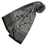 Lorenzo Cana Quadratisches XL Damen Luxus Tuch Baumwolle kombiniert mit Seide 110 x 110 cm Naturfaser Marken Schaltuch Halstuch Hahnentritt Paisley