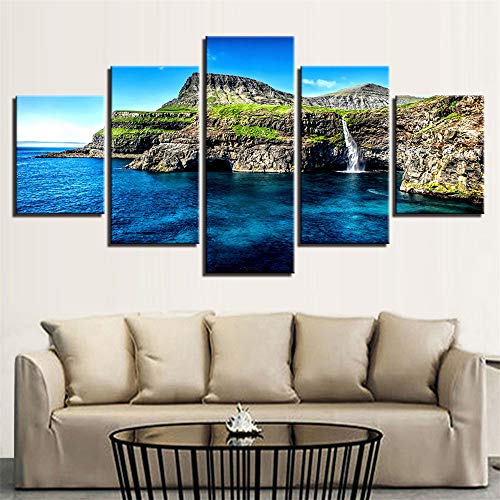 Comeyang Wohnzimmer Inkjet fünf Wandmalerei nach Hause Sofa Hintergrund dekorative Malerei rahmenlose,Rock Seascape 9 Bemalungskern 40x60cmx2 40x80cmx2 40x100cmx1 Action-road-boot
