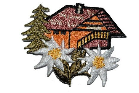 alles-meine.de GmbH Haus Emblem 6,2 cm * 4,8 cm Bügelbild Aufnäher Applikation Patch Blume Blüte