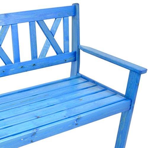Gartenbank 129 cm Parkbank Sitzbank 3 Sitzer Kiefer Bank Holzbank blau lackiert - 3