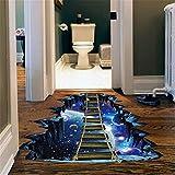 MEIbax 3D Star Series Boden Wandaufkleber Removable Decals Vinyl Art Room Decor (Blau)