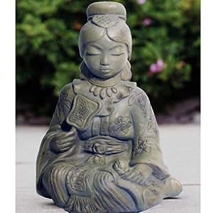 ORIENTAL - Girl Garden Sculpture / Ornament - Weathered Stone