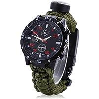 Uomini Donne orologio con Paracord, Bussola, fischietto di emergenza, Fire Starter, analogico orologi, sopravvivenza Gear, resistente all' acqua, regolabile, Army Green
