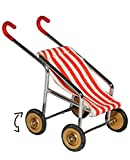 Puppenwagen / Buggy - rot weiße Streifen - für Puppenstube Miniatur - Maßstab 1:12 - Kinderwagen - Geldgeschenk zur Geburt - Puppenhaus / Puppenhausmöbel - Kinderbuggy Sportwagen Puppenbuggy - für Puppen - Diorama