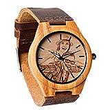 Reloj de Madera con Foto Personalizada Reloj de Madera de Bambú Natural para Hombre Relojes de...