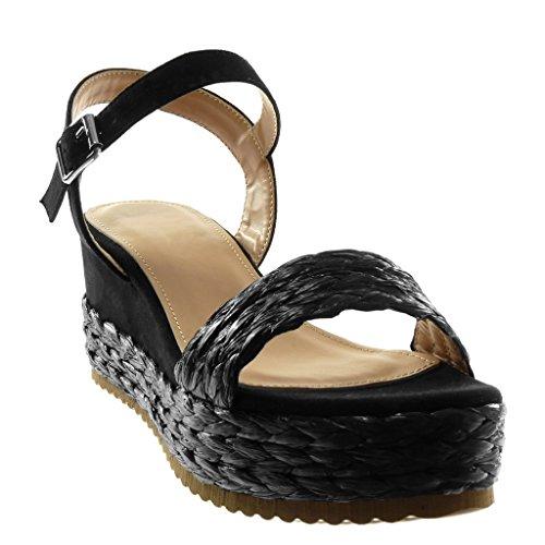 Angkorly Scarpe Moda Sandali Mules con Cinturino Alla Caviglia bi-Materiale Donna con Paglia Intrecciato Fibbia Tacco Zeppa Piattaforma 6.5 cm Nero