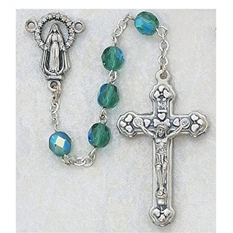 6MM Aurora Borealis EMERALD/May Birthstone Rosary Religious Cross Crucifix Necklace Catholic Christian by Religious Gifts