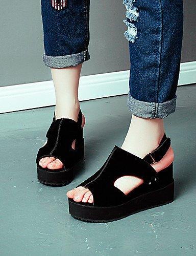 LFNLYX Chaussures Femme-Extérieure / Habillé / Décontracté-Noir / Gris / Bordeaux / Amande-Talon Compensé-Compensées / Bout Ouvert / A Plateau / gray