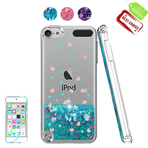 Atump Ipod Touch 6th Gen Case [Love Hearts Series] Clear Flexible Glitter Liquid Slim Fit Shockproof Anti Scratch Girls Ladies Gift Cover +HD Screen Protector for Apple Touch 5th /6th Generation Blue (Protector Ipod-touch-hd-screen)