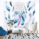 Dremisland Tapisserie Tenture Murale Attrape-rêves Plume Elk Hippie Plage Inde Mandala Tapisseries Art Bohème Couverture (Motif 2, L/200x150cm(79x59inch))