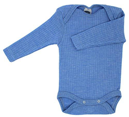 Cosilana-body neonato a maniche lunghe, 45% cotone, 35% lana merino, 20% seta, blu melange, 98/104