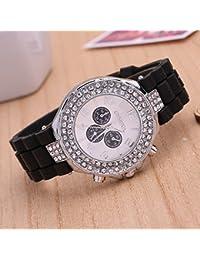 MingXiao Reloj de Pulsera para Mujer Ginebra Diamante Banda de Silicona Reloj Deportivo Unisex Relojes de