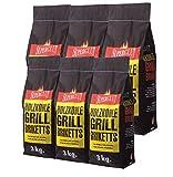 """18kg Grillbriketts """"Superglut"""" - Holzkohle Grill Briketts aus Grillkohle - Spitzenqualität - ideal für Dutch Oven, Smoker & Lotus- oder Tisch-Grill"""