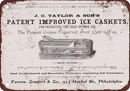 1881 Taylor & # 39; s Ice Caskets Reproduction of Vintage Look Metal Metal Plate, 12 x 18 inches