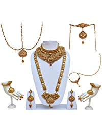Lucky Jewellery Traditional LCT Golden Color Alloy Bridal Set For Women And Girls