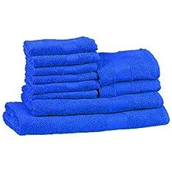 Trident 400g/m², Juego de 10 toallas de algodón (baño, mano y cara), Neón Azul