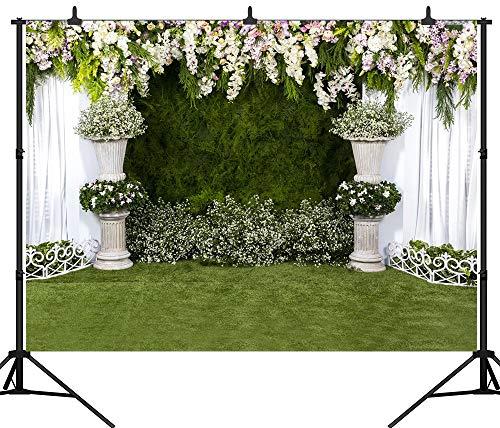 EdCott PGT105D Fotohintergrund, 300 x 300 cm, Bunte Blumen, Weiß