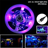 AMARS USB Design Blacklight UV LED Lights Strip Fixtures 2M/6.6FT 5050 SMD 395nm-405nm Flexible Black Light Strip Purple Lights Mini Black Light Bulbs