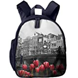 Amsterdam Canal with Tulips Double Zipper Waterproof Children Schoolbag with Front Pockets For Youth
